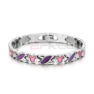 New Power Ionics Womens Titanium Germanium Purple Pink Painted Bracelet w/ Box