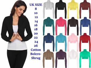 46d4a29402cc24 Image is loading Ladies-Cotton-Long-Sleeve-Cropped-Boleros-Shrugs-Womens-