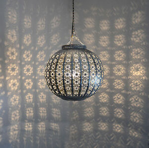 orientalische h ngeleuchte marokkanische lampe orient h ngelampe silber d32cm ebay. Black Bedroom Furniture Sets. Home Design Ideas
