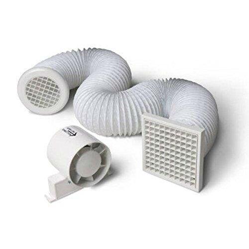 Xpelair DX100S Ventilateur de Salle de Bain carr/é Standard 4 Pouces avec kit Mural DX100HPTS