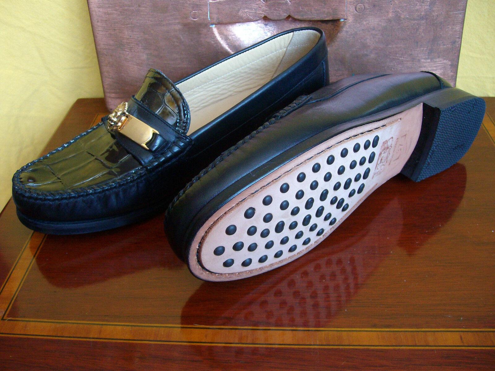Damenschuhe - Halbschuhe - - Sauro - Größe 37 - - Leder schwarz in Krokodesign ee68b9