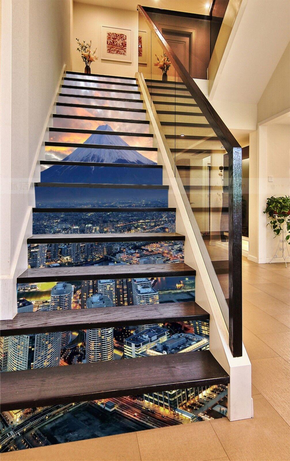 3D City mountain Stair Risers Decoration Photo Mural Vinyl Decal Wallpaper AU