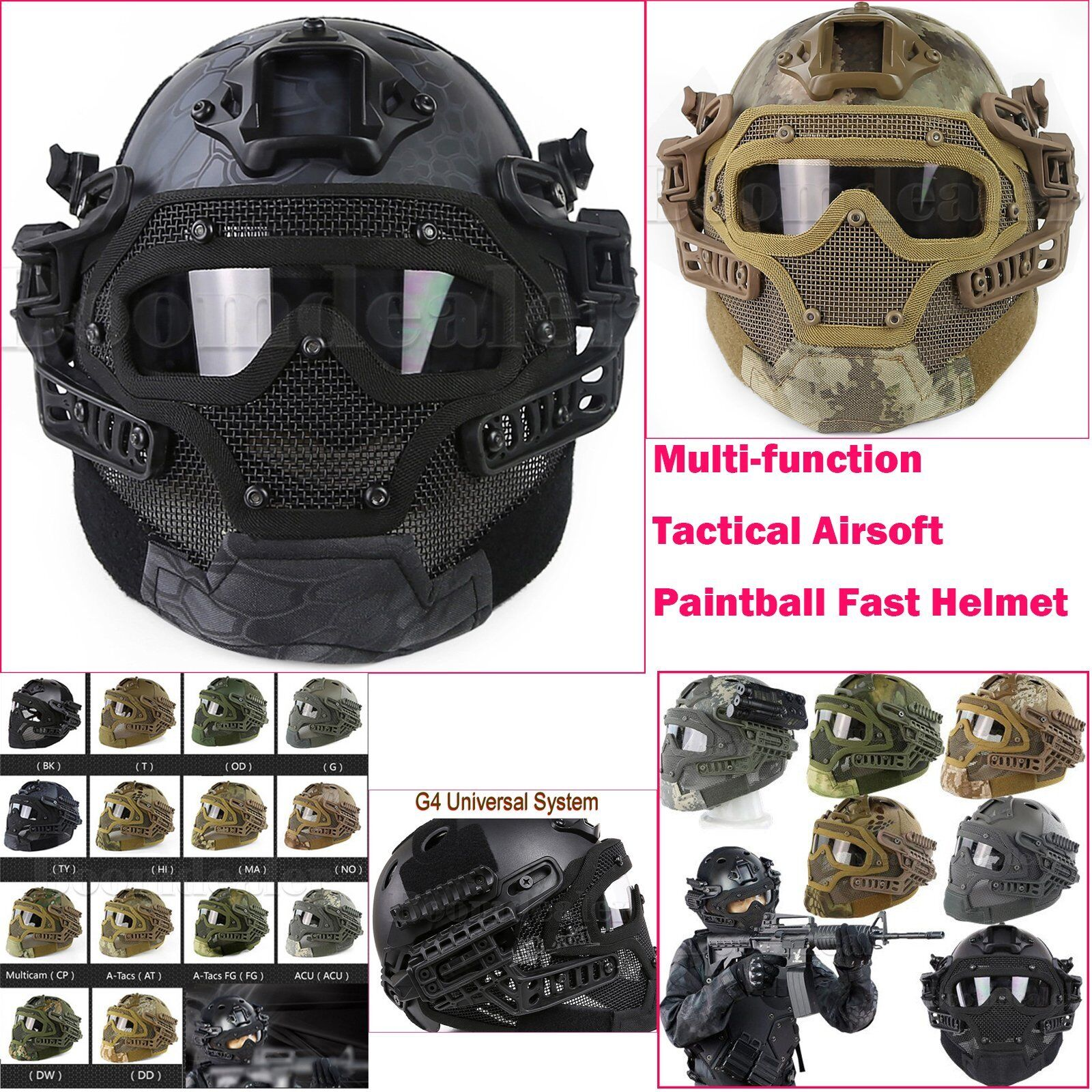 Airsoft Paintball Mask Goggles Fast Helmet & G4 System Predection Multi-function