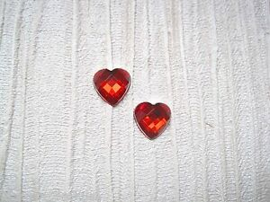 *CUTE RED WHITE POLKA DOT BUTTON HEART* SP Stud Earrings Gift Bag