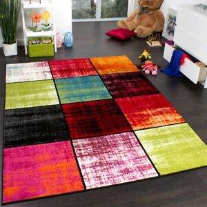 Tapis-Chambre-d-039-Enfant-Carreaux-Multicolore-Rose-Vert-Anthracite-Orange-Mouchete
