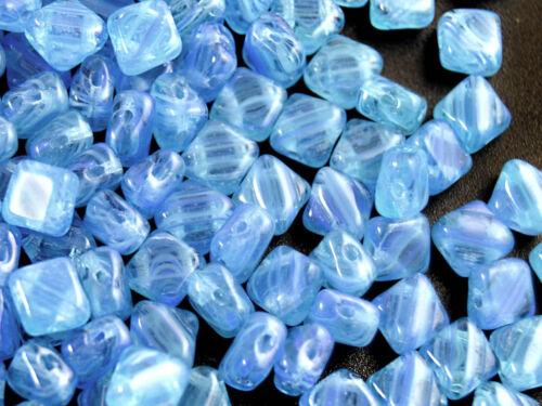 30pcs 6x6mm Silky Beads 2 Diagonal Holes Czech Pressed Glass CHOOSE COLOR