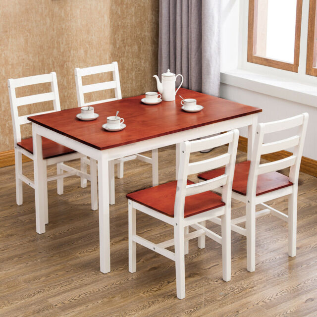 5 Piece Pine Wood Dining Table Set w/ 4 Chairs Kitchen Dining Room Furniture