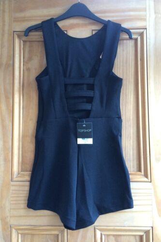 Topshop Brand New Black Sleeveless Lattice Back Playsuit Size 6-12 RRP=£34