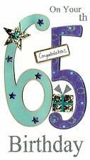 Gorgeous 65th Age 65 Birthday Greeting Card Hand-Finished Champagne Range Cards