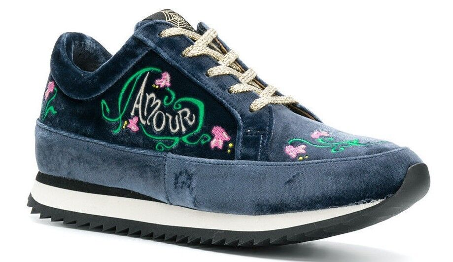 345 New Charlotte Olympia WORK IT Amour Velvet Sneakers Indigo bluee shoes 41