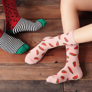 Casual-Women-Winter-Cotton-Fruit-Watermelon-Printing-Breathable-Long-Socks-Fine