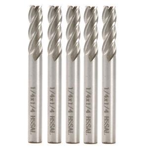 "5Pcs HSS 1//4/""x1//4/"" CNC Shank 4 Flute Endmill Milling Machine Cutter Bit in US"