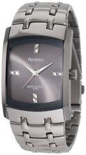 Armitron Mens Swarovski Dark Grey Dial Stainless Steel Band Watch 204507DSDS