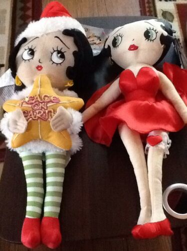 "2 New 12"" Reindeer Betty Boop Kellytoy Plush Doll & Peace on Earth Sugar Loaf"