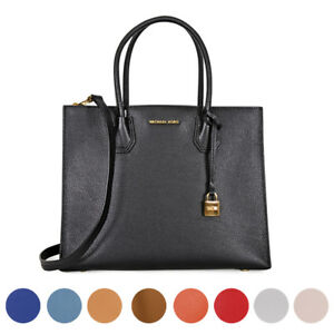 Image is loading Michael-Kors-Mercer-Large-Bonded-Leather-Tote-Choose- fd8daa674b4e2