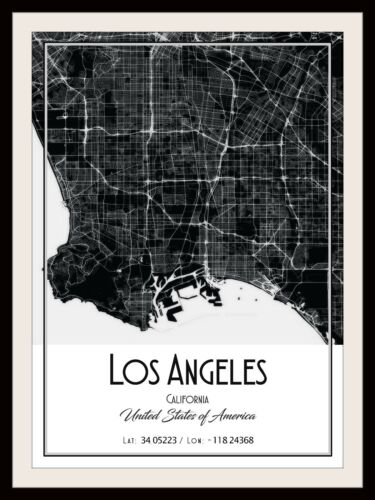 LOS ANGELES CITY MAP POSTER PRINT MODERN CONTEMPORARY CITIES TRAVEL IKEA FRAMES