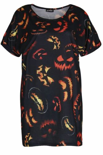 Womens Halloween T Shirt Ladies Skeleton Bones Fancy Dress Costume Party Tee Top