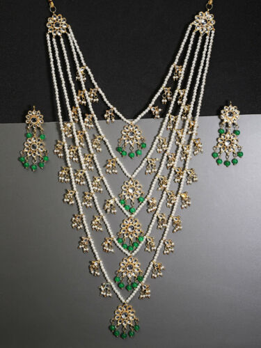 Indian Bollywood Long Rani Haar Pearl Necklace Sets Gold Tone Partywear Jewelry