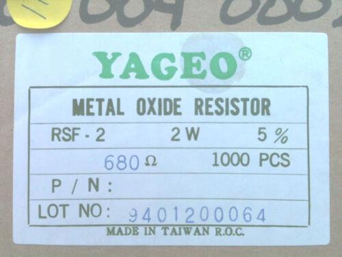 680 Ohm 5/% 2W Metal Oxide Film Resistor Box of 1000