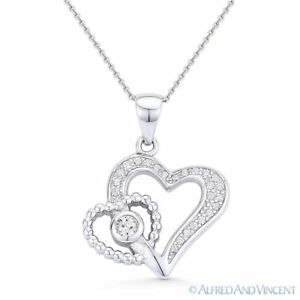 Heart-CZ-Crystal-Love-Charm-Pendant-amp-Necklace-in-925-Sterling-Silver-w-Rhodium