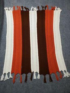 Vintage-Handmade-Crochet-Afghan-Throw-Blanket-White-Orange-Brown-Tassel-Borders