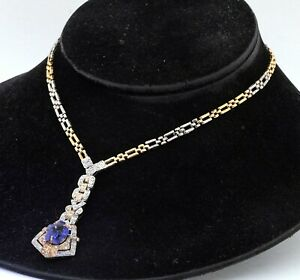 Sterling silver/18K YG 1.88CT diamond & Purple gemstone formal pendant necklace