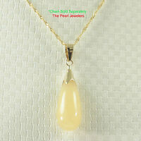 14k Yellow Solid Gold Hand Carving Raindrop Honey Jade Pendant Necklace Tpj
