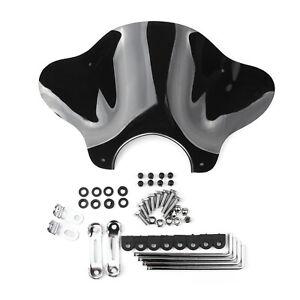 Motorcycle-Cruiser-Windschutzscheibe-Windschild-with-Mounting-kit-Smoke-BS7