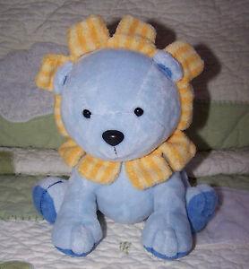 "Child of Mine Blue & Yellow Stripes Plush Lion Rattle Baby Toy EUC 7"""