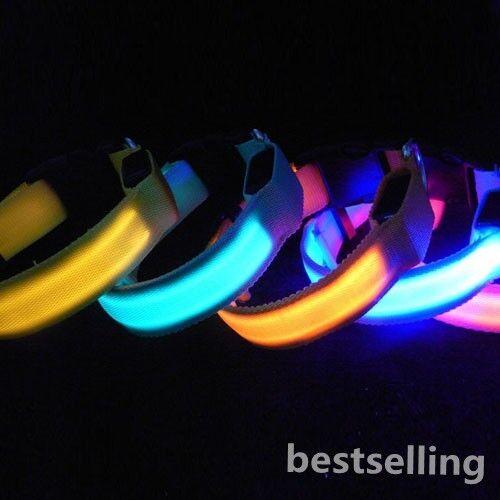 LED Nylon Night Safety Lead Light-up Flashing glow Hunting Dog Collar 6 Colors