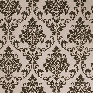 Exclusive Tuscany Velvet Flock Black//Beige Brown Stripe Wallpaper J811