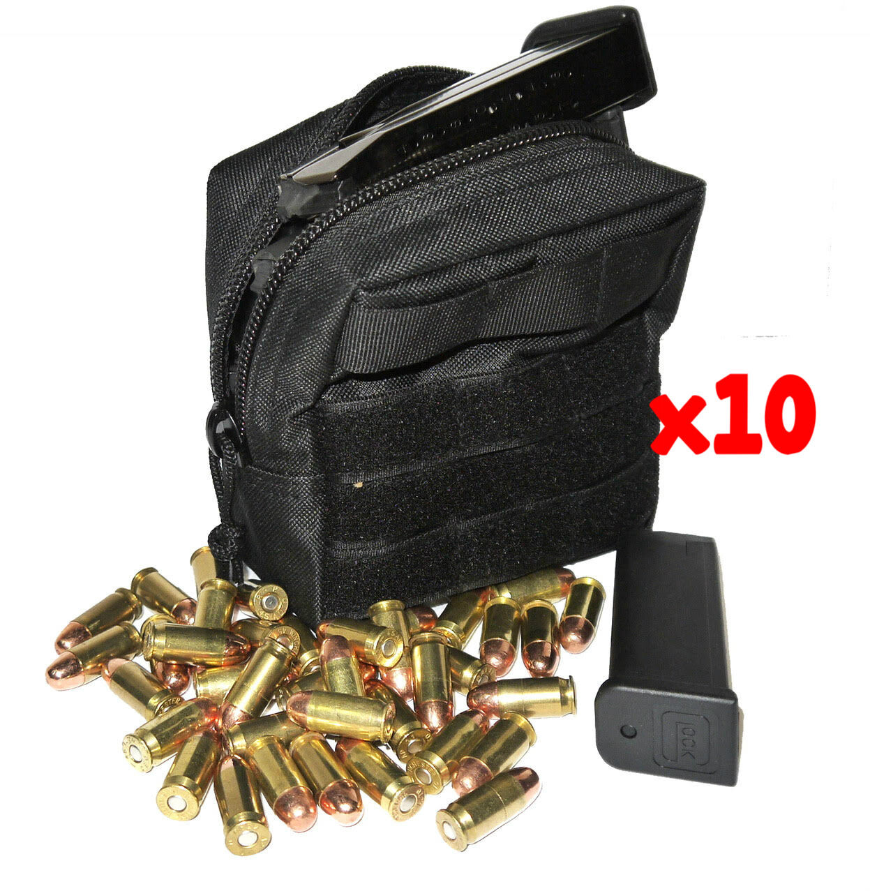 (10) .40 S&W AMMO MODULAR MOLLE UTILITY POUCH FRONT HOOK LOOP STRAP 40 S&W