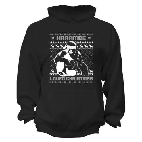 Harambe Loved Christmas Ugly Christmas Sweater Gorilla Animal Funny Hoodie