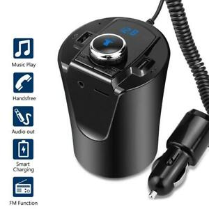 Cup Car Phone Charger 2 USB Bluetooth Handsfree MP3 FM Transmitter Receiver Neu