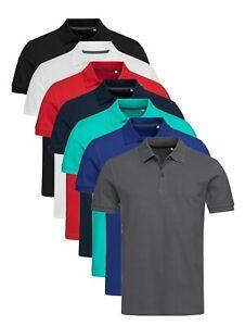 Mens-BLUE-GREEN-GREY-BLACK-Heavy-Cotton-Pique-Polo-Sports-Shirt-with-Collar