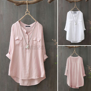 Women-Cotton-Long-Sleeve-Shirt-Tops-High-Low-Solid-Button-Baggy-Casual-Blouse-US