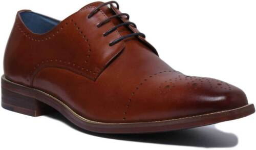 Justin Reece England Walter Men Leather Tan Brogue Shoes UK Size 6-12
