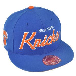 0d4b26c27 NBA Mitchell Ness G023 New York Knicks Fitted Flat Bill Script Hat ...