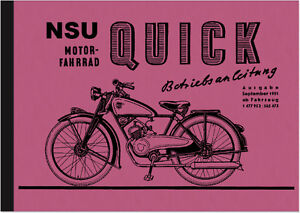 nsu quick 1951 98 ccm bedienungsanleitung. Black Bedroom Furniture Sets. Home Design Ideas