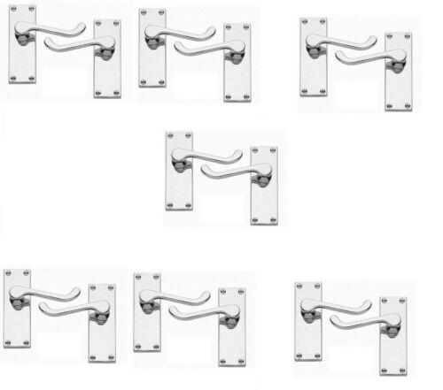 7 Sets Victorien Défiler Levier Loquet Poignées de Porte Chrome Poli