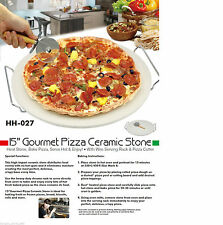 Extra Large 38cm / 15? Pizza Baking Stone With Wire Serving Rack & Pizza Cutter