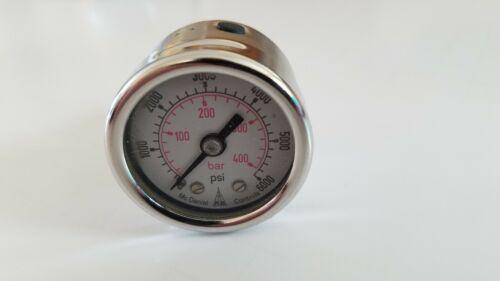 "0-6000 psi NOS McDaniel Controls 1-1//2"" Dial Pressure Gauge 7//16"" SAE Back Conn"