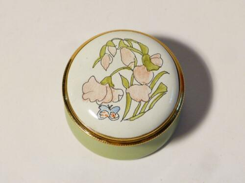 APRIL Month Flower Staffordshire Enamels Ring Pill Box Boxed #22 SWEET PEA