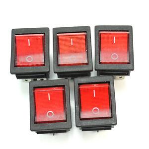 5x-Interruttore-a-Bilanciere-250V-20A-con-Tasto-Rosso-luminoso-Barca-33x25mm