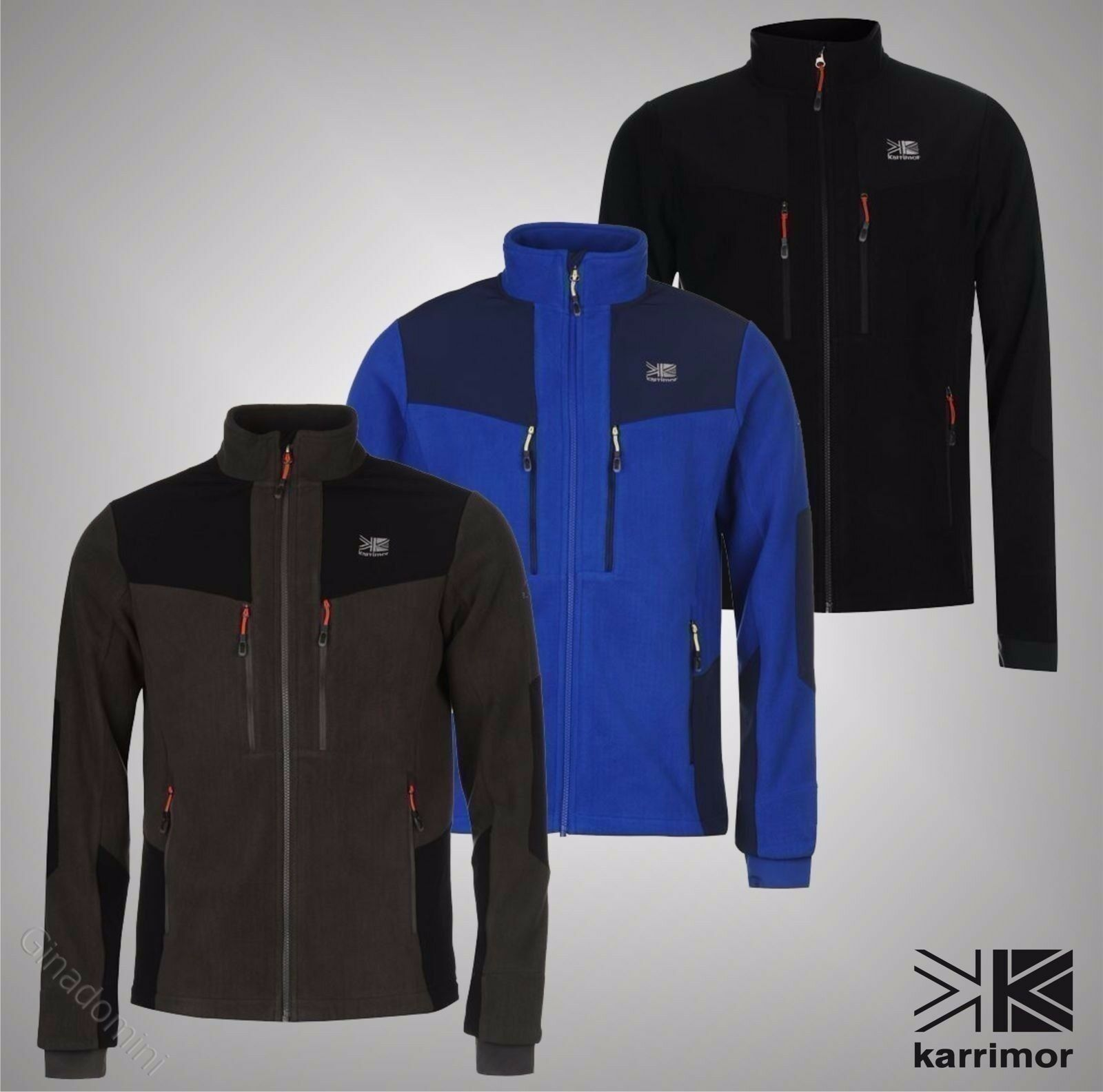 Mens Branded Karrimor Outdoor Top Windproof Full Zip Hoolie Fleece Größe S-XXL