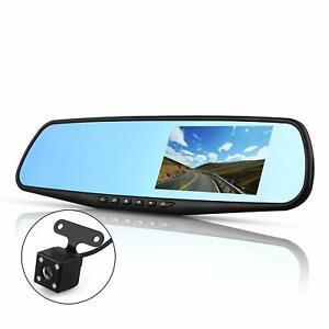"4.3"" 1080P HD Dual Lens Car DVR Dash Cam Front and Rear Mirror Camera Video UK"