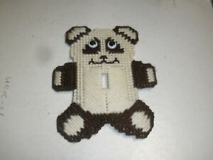 New Finished Plastic Canvas Brown Teddy Bear Light Single Switch
