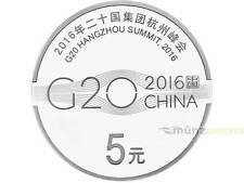 5 Yuan G20 Hangzhou Summit Gipfel China 1/2 oz Unze Silber PP 2016