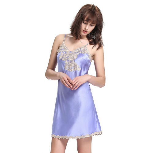 Details about  /NEW LILYSILK 22 Momme Floral Lace Trimmed Silk Chemise Nightgown for Women