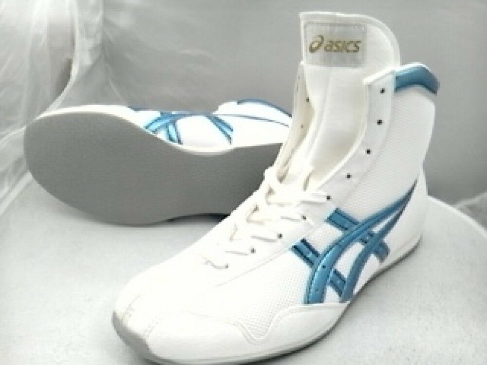 Asics Boxing shoes EF Short type Original color White X ice bluee